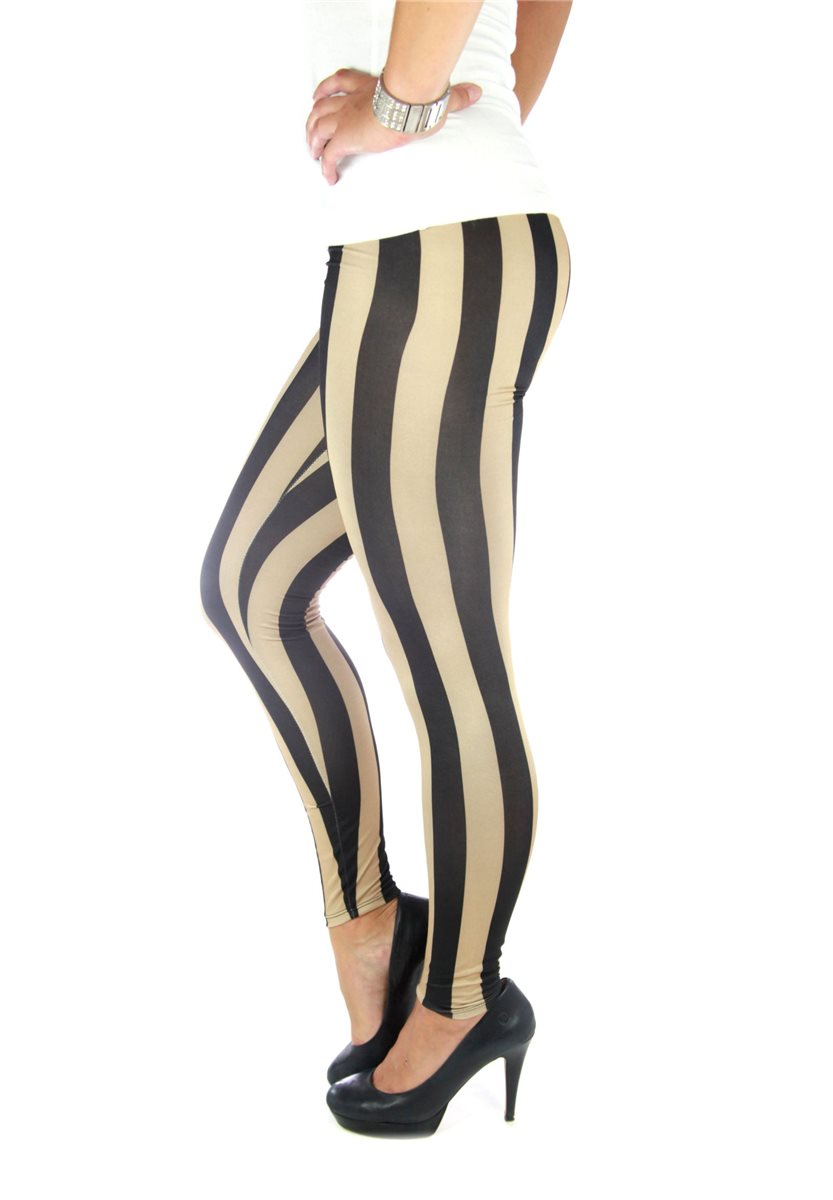 zebra ladies 39 leggings gold black striped sexy jeggings. Black Bedroom Furniture Sets. Home Design Ideas